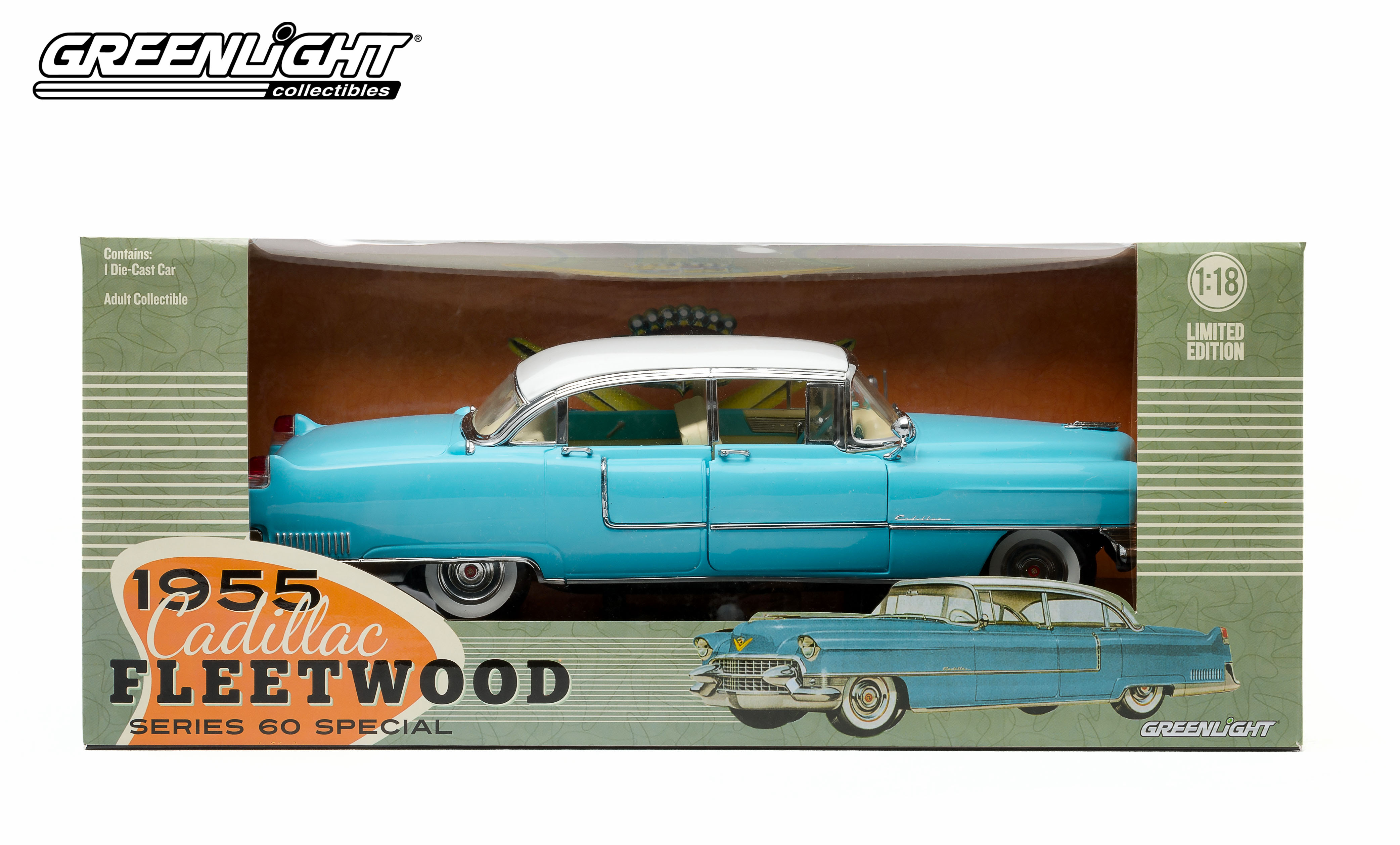 12924 118 1955 Blue Cadillac Fleetwood Series 60 With White Roof Engine